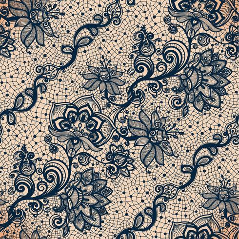 Modelo inconsútil de la cinta abstracta del cordón con las flores de los elementos. vector