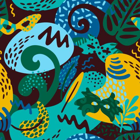 Brazil carnival. Vector seamless pattern with trendy abstract elements