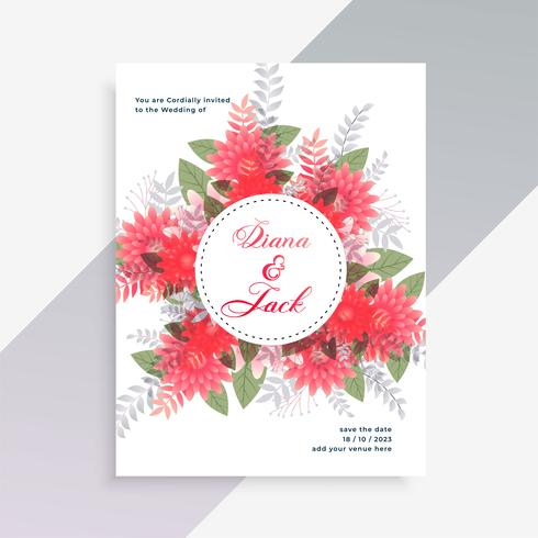 design de cartão de convite de casamento com decoração de flor