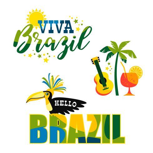 Brazilian Carnival. Big set of vector emblems
