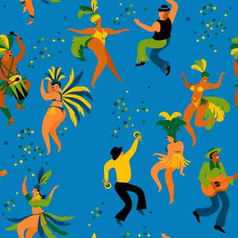 Carnaval de Brasil. Modelo inconsútil con los hombres y las mujeres divertidos del baile en trajes brillantes.