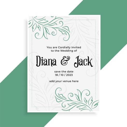 Inbjudanmall för dekorativt bröllopskortdesign