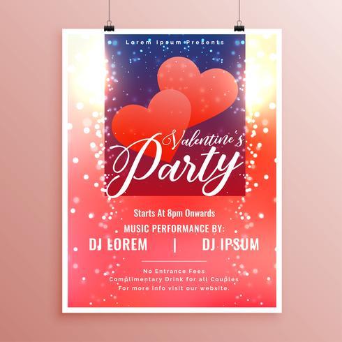 schöner Valentinstag Event Flyer mit Licht funkelt