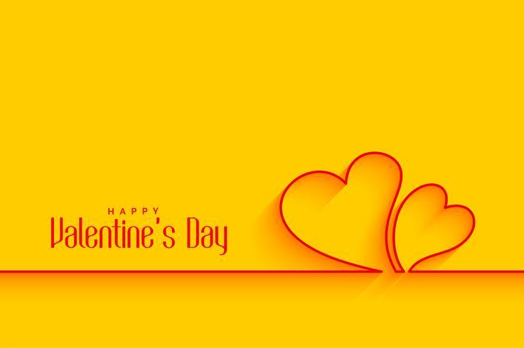 minsta linjärhjärtans former på gul bakgrund