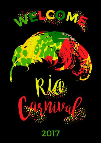 Rio Carnival. lettering design with hand draw feather. vector