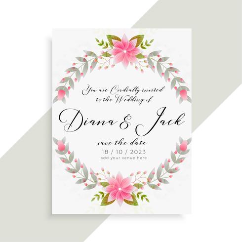 floral wedding invitation card elegant template