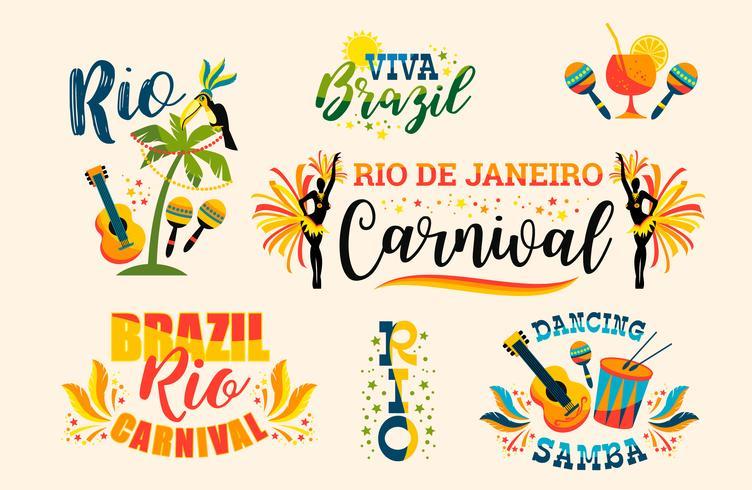 Carnevale brasiliano. Grande set di emblemi vettoriali