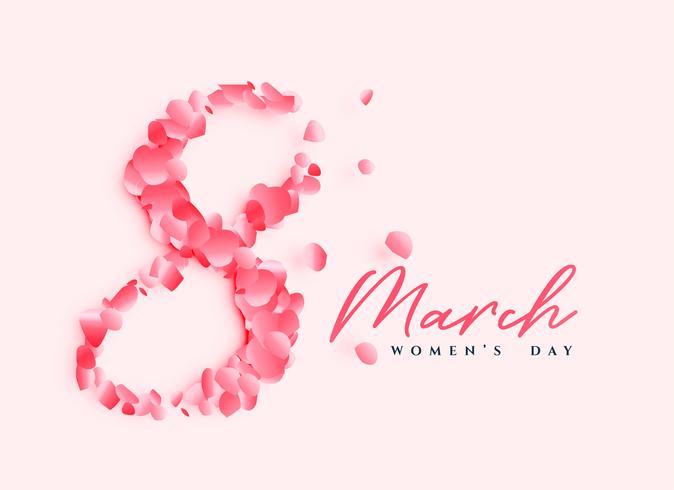 Hermoso diseño del cartel del día de la mujer con el número 8 escrito con pétalos de rosa.