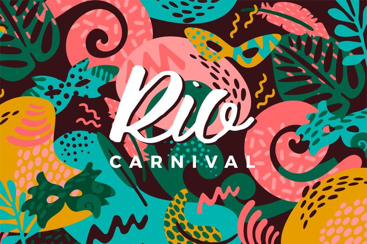 Carnaval de Brasil. Ilustración de vector con elementos abstractos de moda.