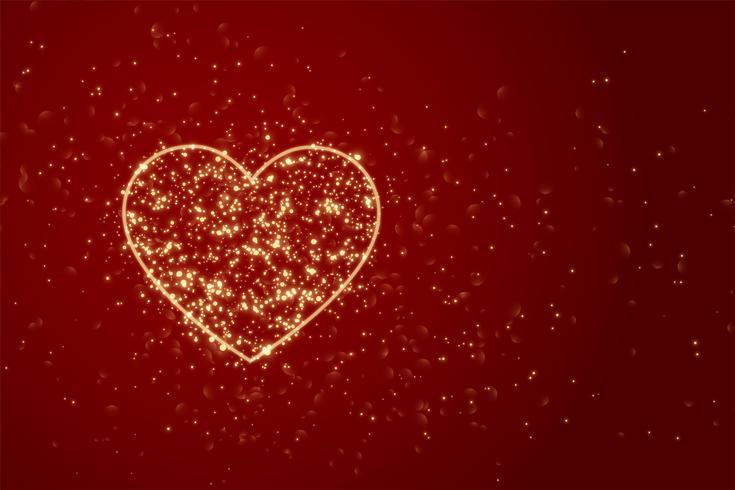 Roter Hintergrund mit Herz gemacht mit Funkeln