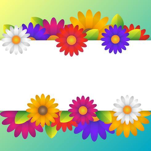 Kleurrijke lente achtergrond met mooie bloemen elementen vector