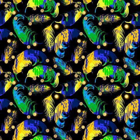 Vektornahtloses Muster mit abstrakten Federn.