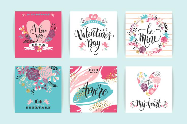 Set van Happy Valentines Day-kaarten. vector