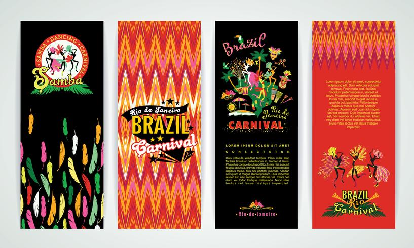 Vertical banners set with Brazil Carnival Backgrounds. vector