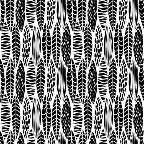 Stamlös sömlös mönster med abstrakta löv. Hand rita textur.