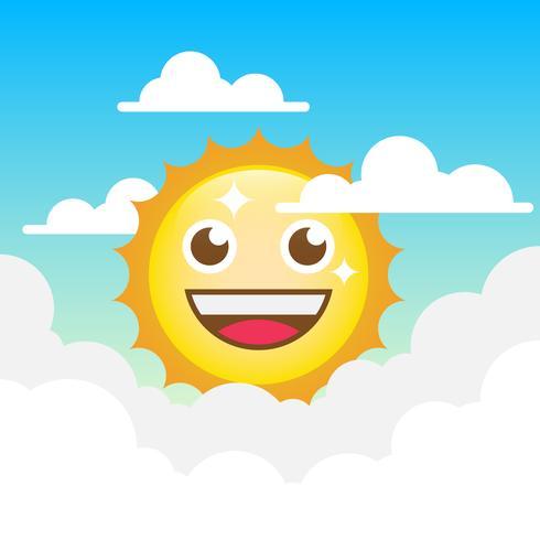 Ilustración de imágenes prediseñadas de dibujos animados de sol con fondo de nubes