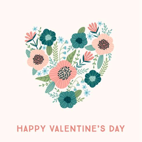 Floral design concept for Valentines Day and other users. vector