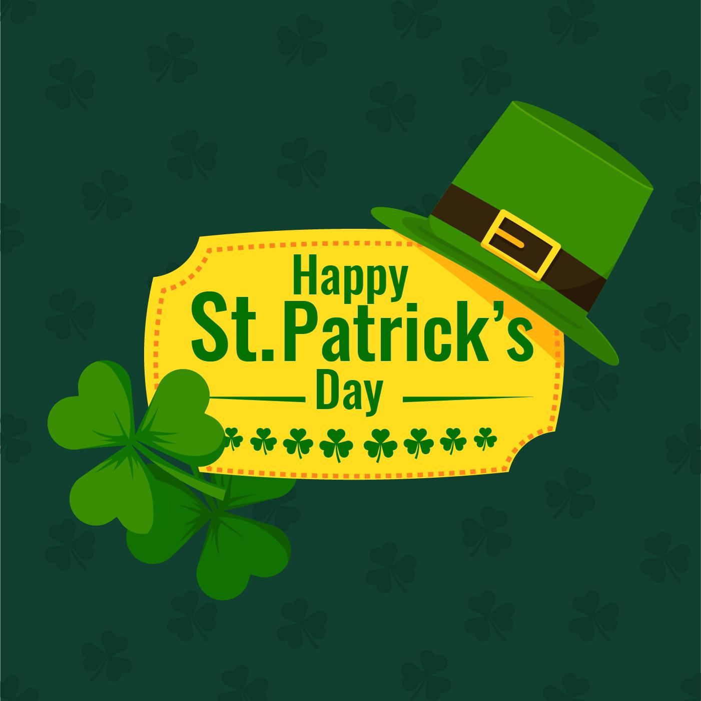 Día de San Patricio Lucky Rayas Shamrock Duende Sombrero Confeti!
