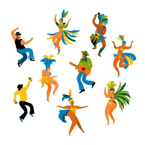 Ilustración de hombres y mujeres divertidos bailando en trajes brillantes vector