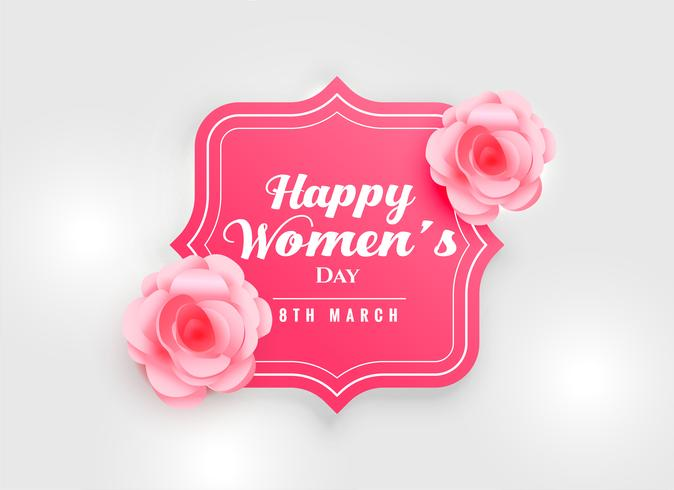 happy women's day background with pink rose flower