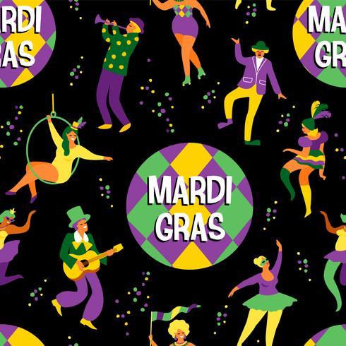 Mardi Gras. Patrón sin fisuras con divertidos hombres y mujeres bailando en trajes brillantes