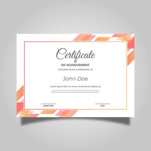 Modello di vettore moderno piatto arancio certificato