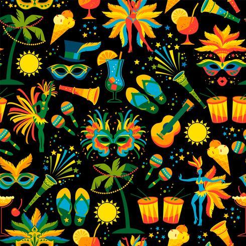 Braziliaans carnaval. Vector naadloos patroon.