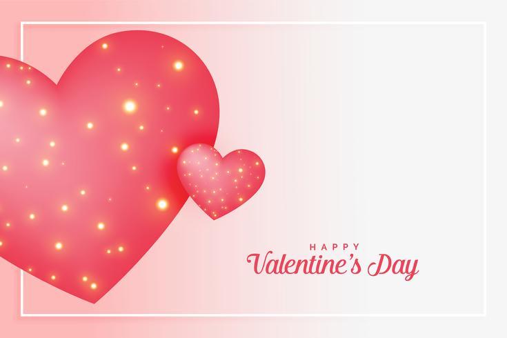 corazones de amor rosa con destellos para el dia de san valentin