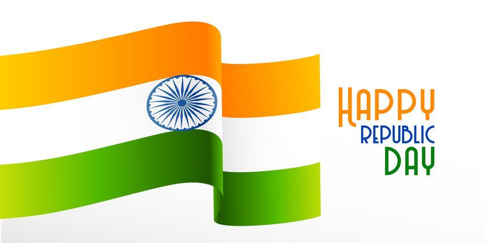wavy indian flag republic day background