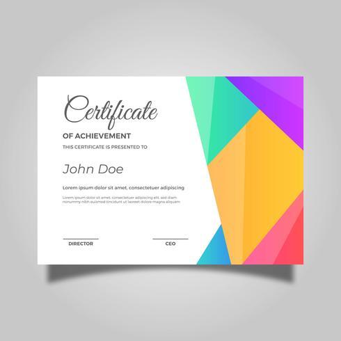 Certificado plano colorido plantilla de vector