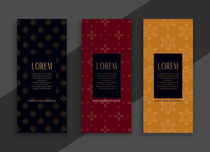conjunto de banners premium clásico vertical vintage