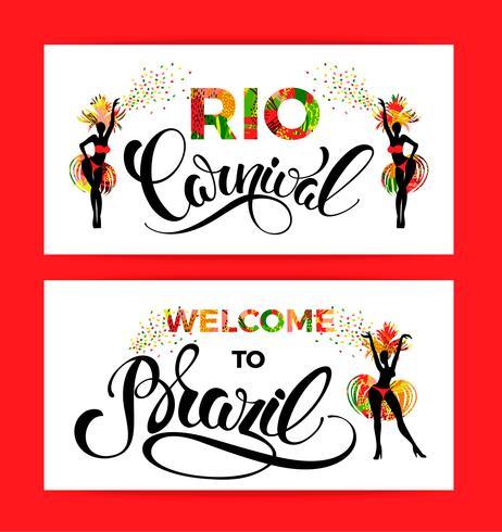 Carnaval de rio Diseño de letras con mano dibujar textura.