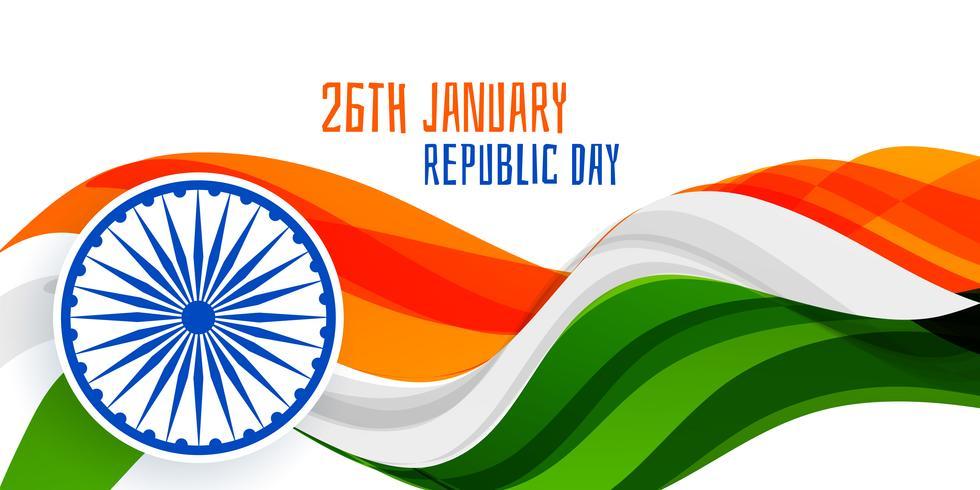 Concepto de banner de bandera ondulada del 26 de enero día