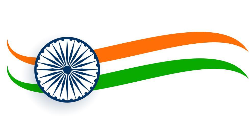 bandera de la india en estilo trocolor ondulado