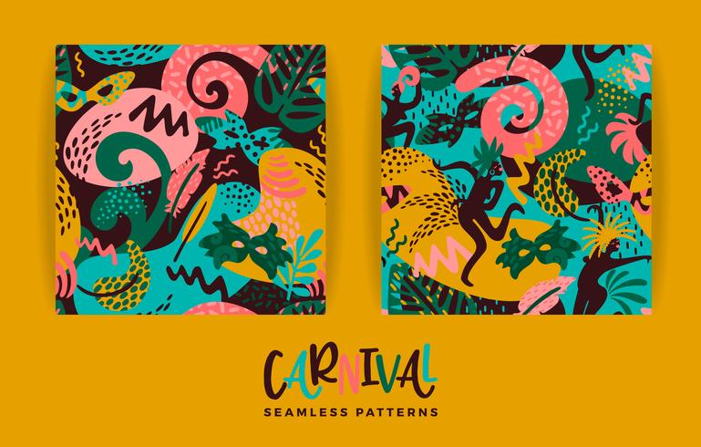 Brazil carnival. Vector seamless patterns with trendy abstract elements.