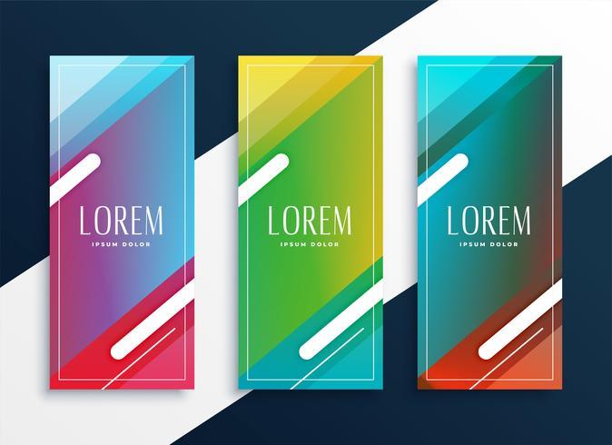 vibrante conjunto de banners verticales en estilo geométrico