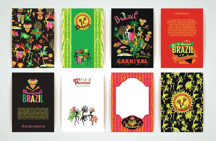 Stor uppsättning av karnevalbakgrund i Brasilien. vektor