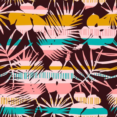 Abstraktes nahtloses Muster mit tropischen Blättern. Hand zeichnen Textur. vektor