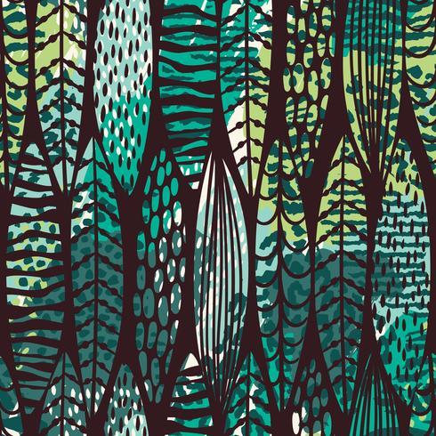 Modello senza cuciture tribale con foglie astratte. Mano disegnare trama.