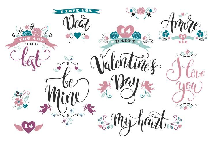 Fijne Valentijnsdag. Set hand getrokken inscripties.