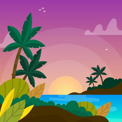 Flat Tropical Ocean Vector Background