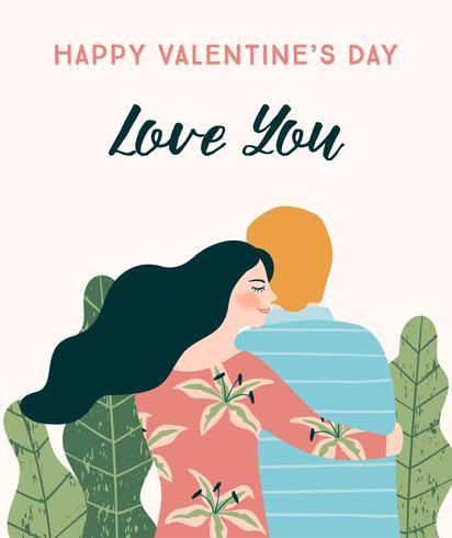 Ilustración romántica con personas. Concepto de diseño vectorial para el día de San Valentín y otros usuarios.
