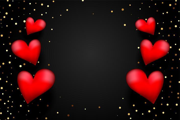 Corazones rojos 3d con confeti dorado sobre fondo negro con espacio de texto