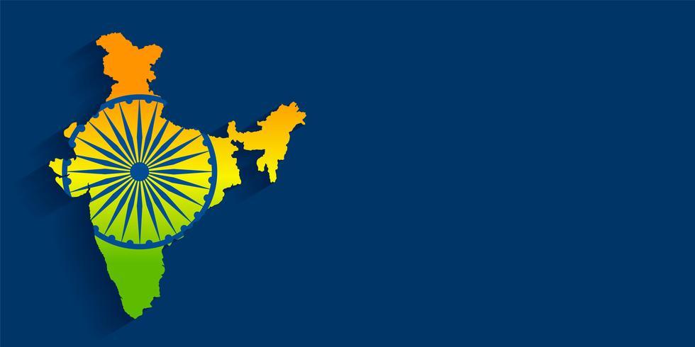Karte von Indien mit Flagge Tricolor Hintergrund