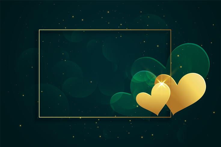 Marco de corazones de oro brillante con espacio de texto