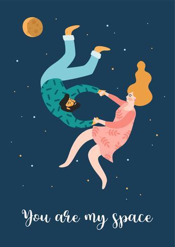 Romantische illustratie met mensen