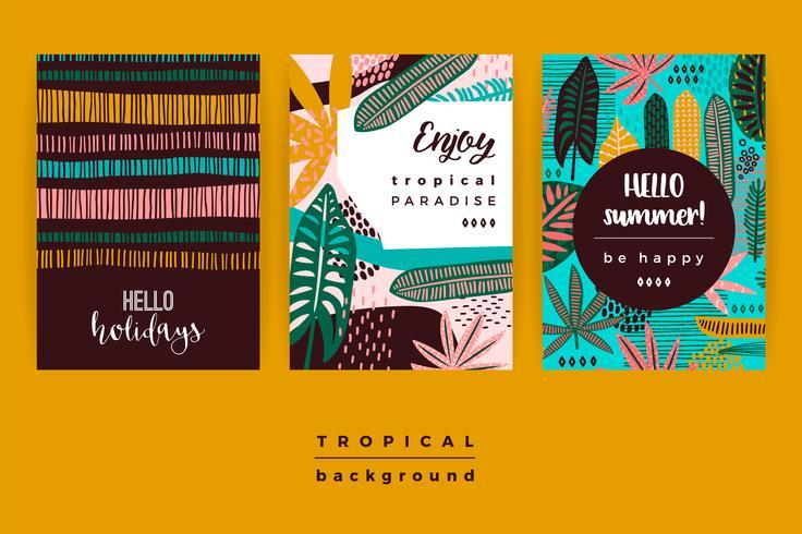Set van abstracte creatieve sjablonen met tropische bladeren. vector