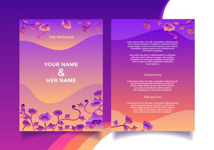 Vector de plantilla de tarjeta de invitación de boda floral