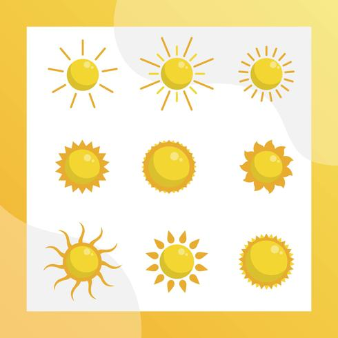 Flache Sonne Clipart Vektor-Sammlung