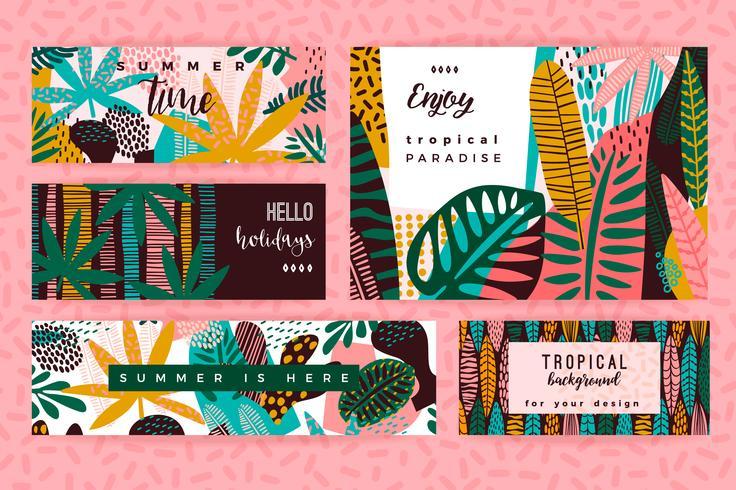 Conjunto de plantillas creativas abstractas con hojas tropicales.